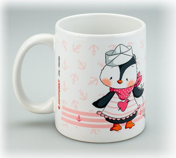 Tasse Pingu Mädchen weiß