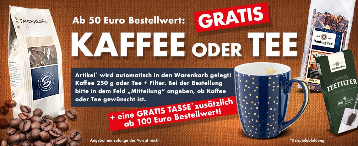 Kaffee/Tee gratis